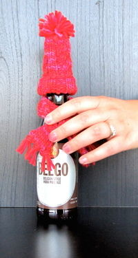 How to sew a piece of doll clothing. Holiday Wine Bottle Hat & Scarf - Step 2