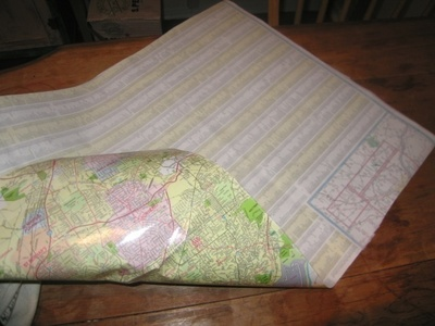 How to make a recycled bag. Paris Map Purse - Step 1