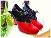 Diy Viktor & Rolf Red And Black Booties