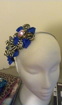 Purple And Zebra Print Fascinator.