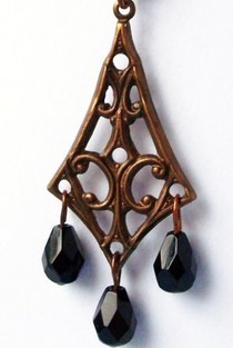 Black And Copper Art Nouveau Necklace