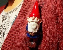 Plaster Gnome Brooch