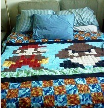 Mario And Goomba Video Game Quilt