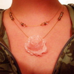 Pink And Gold Rose Necklace
