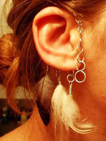Wire Ear Wrap W/ Feathers And Fur