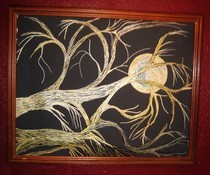 Golden Tree Branches With Moon Sharpie Painting