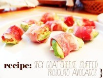 Spicy Goat Cheese Stuffed Prosciutto Avocados