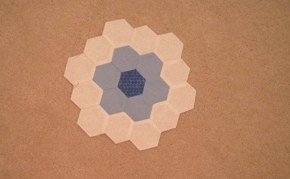 Hand Sewing Hexagons.