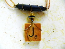 Wire Wrapped Scrabble Tile Necklace