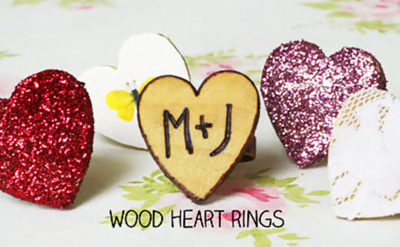Woodburned Heart Rings