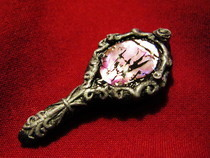 Antique Gothic/Medieval Cracked Hand Mirror Pendant