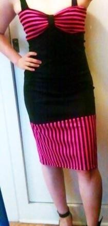 Pink And Black Rockabilly Dress