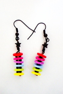 Rainbow Button Earrings