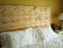 Gold Stenciled Plank Headboard