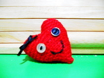 Happy Heart Crocheted Pin