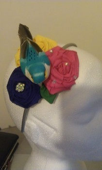 Rolled Roses And Bird Fascinator.