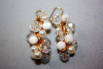 Earrings White And Gold Pearls And Beads 