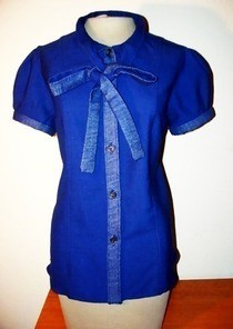 Bow Tie Blouse W/ Denim Accents