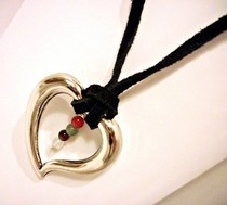 Silver Heart On Leather Thong Necklace With Healing Crystals