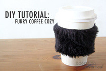 Furry Coffee Cozy