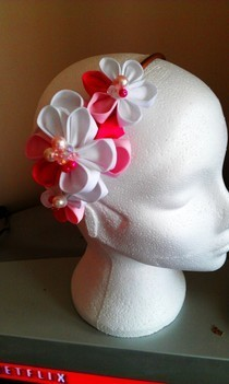 Pink And White Kanzashi Flowers