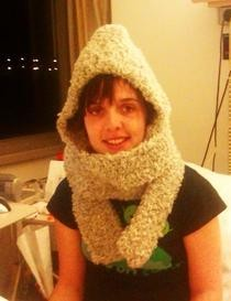 Even I Can Do It Crocheted Hooded Scarf