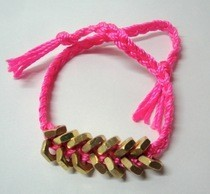 Neon Pink And Brass Hex Nut Bracelet