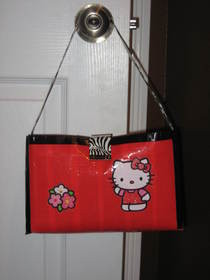 "Hello Kitty ..Duct Tape Handbag 6"" Tall..10"" Wide And 4"" Deep :)"