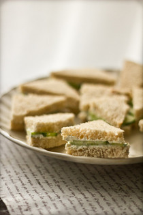 Cucumber Tea Sandwiches With A Chive & Dill Cream Cheese Spread