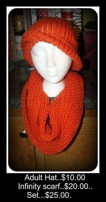 Orange, Hat And Infinity Scarf...Hat Made On Kk Yellow Round And Scarf On Red Long Rake Loom....