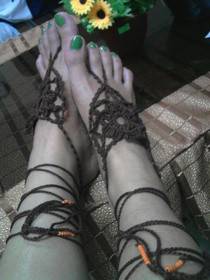 Brown Flower Design Barefoot Crochet :)
