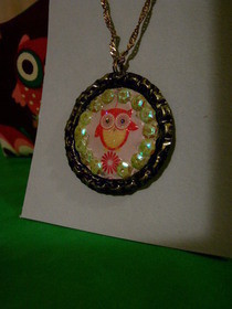 Owl Bottle Cap Necklace