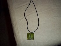 Green Glass Square Necklace