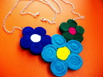 Flower Shaped Felt Necklace