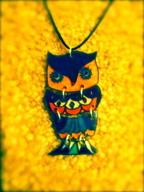 Vintage Owl Shrink Plastic Necklace