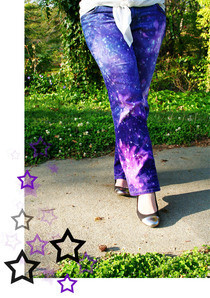 Dyed &amp; Bleached Galaxy Print Jeans
