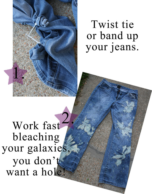 Dyed Amp Bleached Galaxy Print Jeans 183 How To Make Jeans