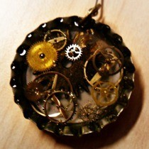 Steampunk Bottlecap Choker Pendant
