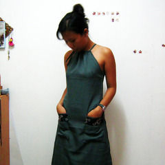 Drawstring Halter  And A Line Dress