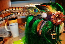 Steampunk Feather Hairpiece