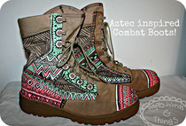 Aztec Inspired Painted Combat Boots!