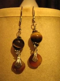 Tiger's Eye Bead Earrings