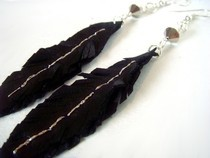 Pleather Feather Earrings