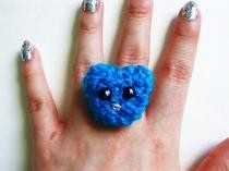 Blue Bunny Crochet Statement Ring
