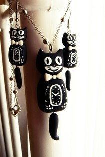 Kit Cat Clock Inspired Jewellery Set