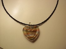 Striped Glass Heart Necklace