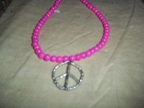 Pink And Silver Peace Necklace