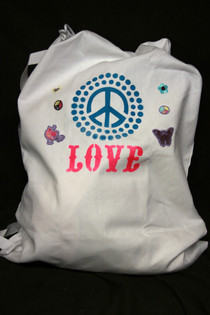 "Spray Painted ""Peace & Love"" Laundry Bag"