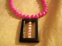Pink And Black Square Necklace