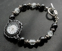Hematite And Crackle Bead Bracelet Watch